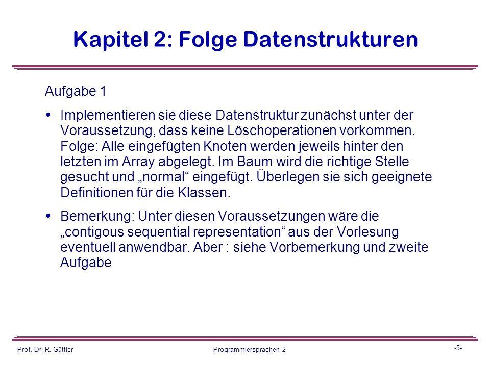 -4- Prof. Dr. R. Güttler Programmiersprachen 2 Kapitel 2: Folge Datenstrukturen guettler folz kretschmer denzer grabowski schmidt