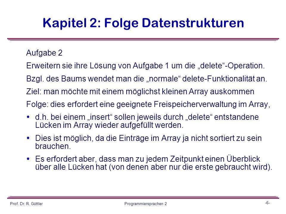 -5- Prof. Dr. R. Güttler Programmiersprachen 2 Kapitel 2: Folge Datenstrukturen Aufgabe 1  Implementieren sie diese Datenstruktur zunächst unter der