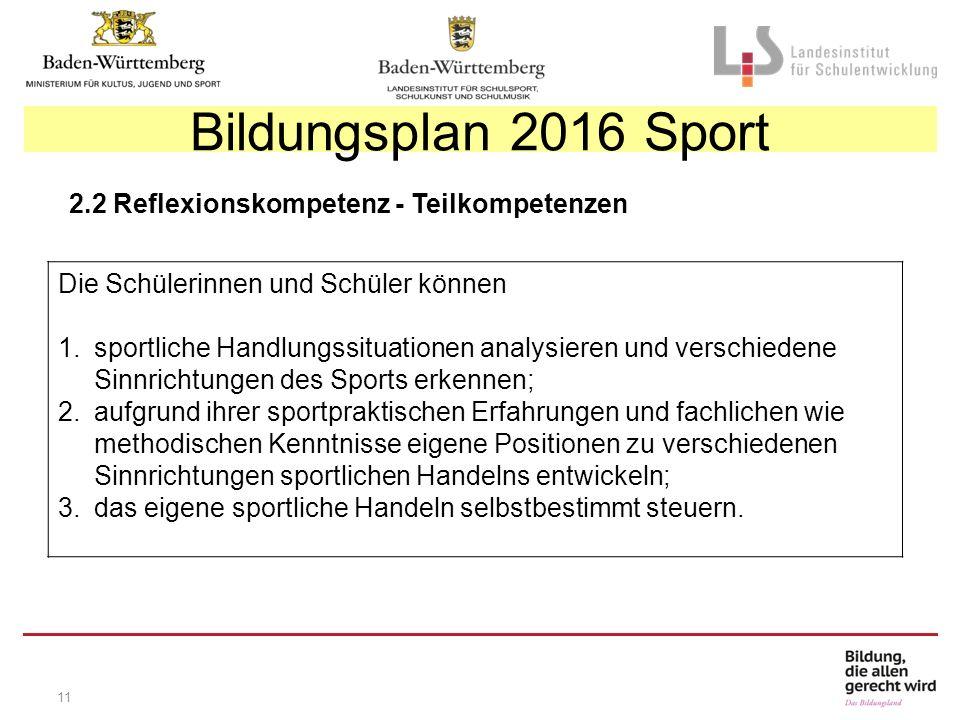11 Bildungsplan 2016 Sport 2.2 Reflexionskompetenz - Teilkompetenzen Die Schülerinnen und Schüler können 1.sportliche Handlungssituationen analysieren