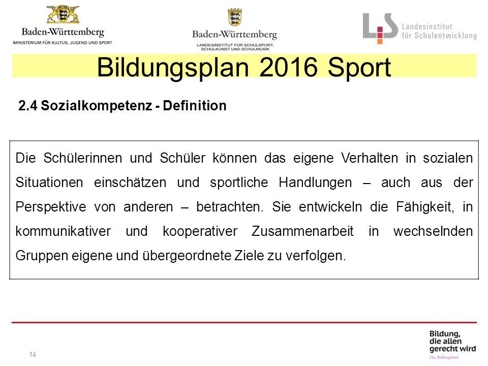 14 Bildungsplan 2016 Sport 2.4 Sozialkompetenz - Definition Die Schülerinnen und Schüler können das eigene Verhalten in sozialen Situationen einschätzen und sportliche Handlungen – auch aus der Perspektive von anderen – betrachten.