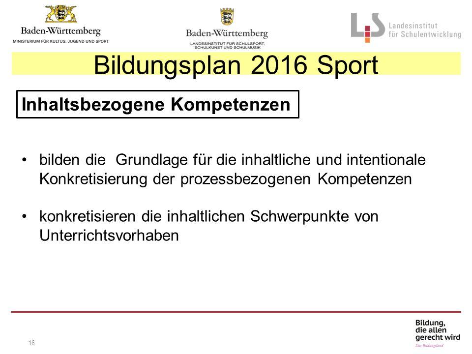 16 Inhaltsbezogene Kompetenzen bilden die Grundlage für die inhaltliche und intentionale Konkretisierung der prozessbezogenen Kompetenzen konkretisieren die inhaltlichen Schwerpunkte von Unterrichtsvorhaben Bildungsplan 2016 Sport