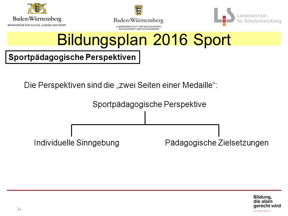 """24 Sportpädagogische Perspektiven Die Perspektiven sind die """"zwei Seiten einer Medaille : Sportpädagogische Perspektive Individuelle Sinngebung Pädagogische Zielsetzungen Bildungsplan 2016 Sport"""