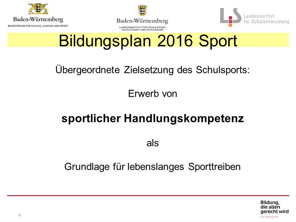 4 Übergeordnete Zielsetzung des Schulsports: Erwerb von sportlicher Handlungskompetenz als Grundlage für lebenslanges Sporttreiben Bildungsplan 2016 Sport