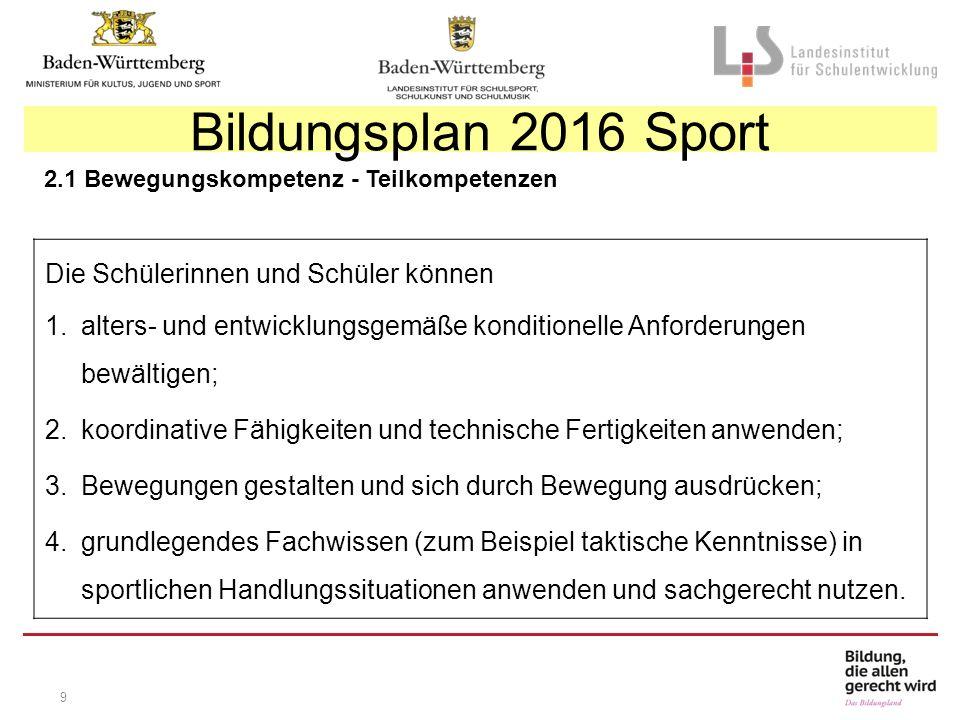 9 Bildungsplan 2016 Sport Die Schülerinnen und Schüler können 1.alters- und entwicklungsgemäße konditionelle Anforderungen bewältigen; 2.koordinative