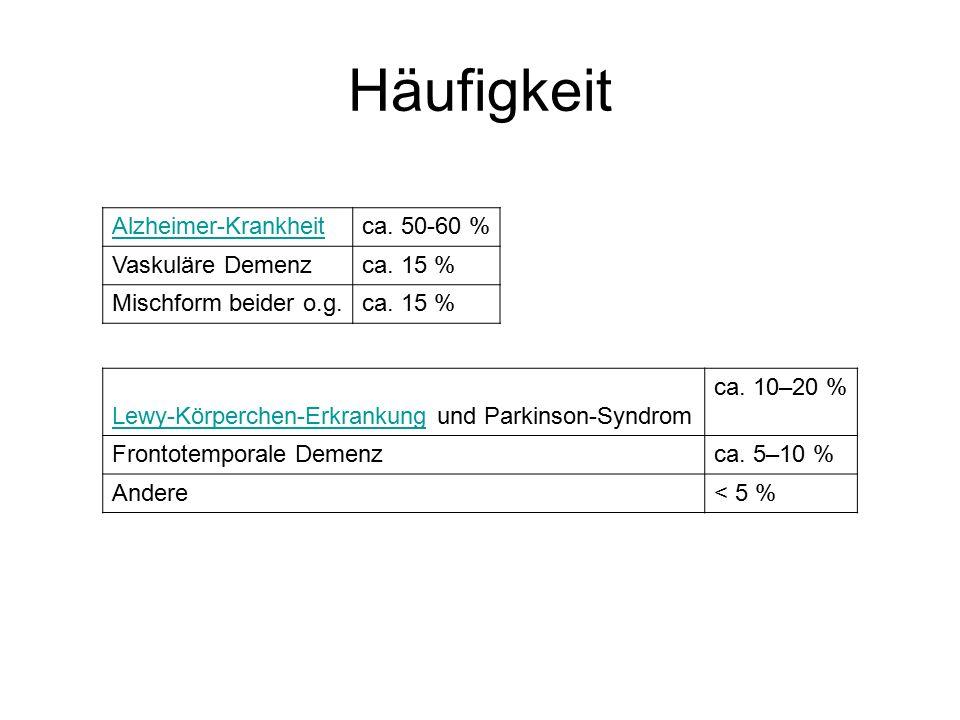 Alzheimer-Krankheitca.50-60 % Vaskuläre Demenzca.