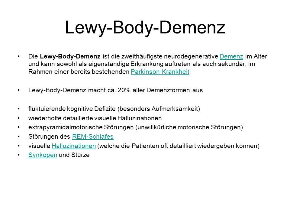 Lewy-Body-Demenz Die Lewy-Body-Demenz ist die zweithäufigste neurodegenerative Demenz im Alter und kann sowohl als eigenständige Erkrankung auftreten als auch sekundär, im Rahmen einer bereits bestehenden Parkinson-KrankheitDemenzParkinson-Krankheit Lewy-Body-Demenz macht ca.