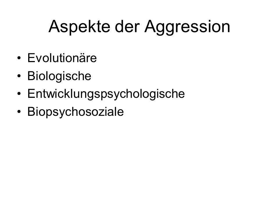Aspekte der Aggression Evolutionäre Biologische Entwicklungspsychologische Biopsychosoziale