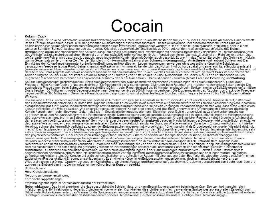 Cocain Kokain - Crack Kokain (genauer: Kokain-Hydrochlorid) wird aus Kokablättern gewonnen.