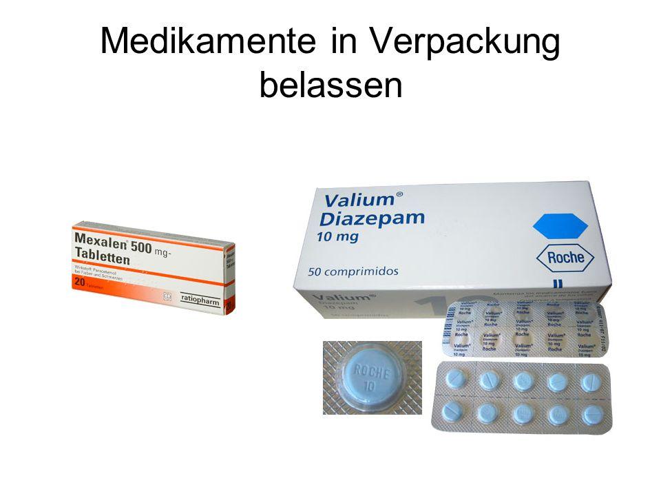 Medikamente in Verpackung belassen