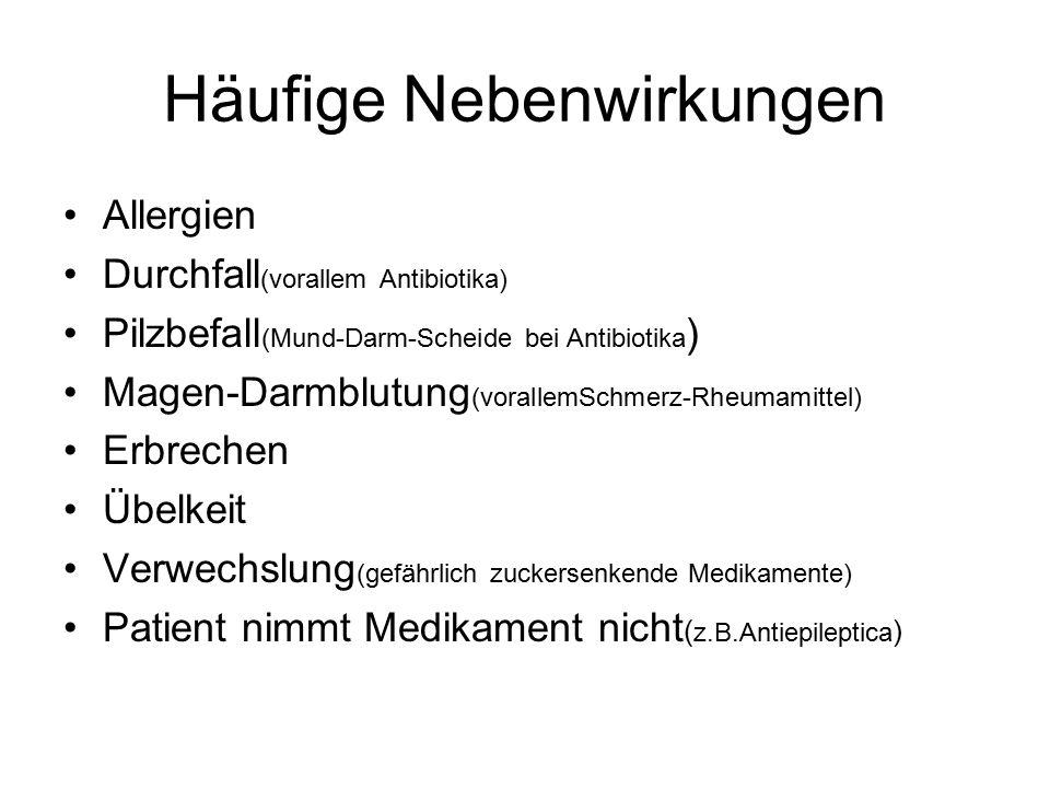 Häufige Nebenwirkungen Allergien Durchfall (vorallem Antibiotika) Pilzbefall (Mund-Darm-Scheide bei Antibiotika ) Magen-Darmblutung (vorallemSchmerz-Rheumamittel) Erbrechen Übelkeit Verwechslung (gefährlich zuckersenkende Medikamente) Patient nimmt Medikament nicht ( z.B.Antiepileptica )