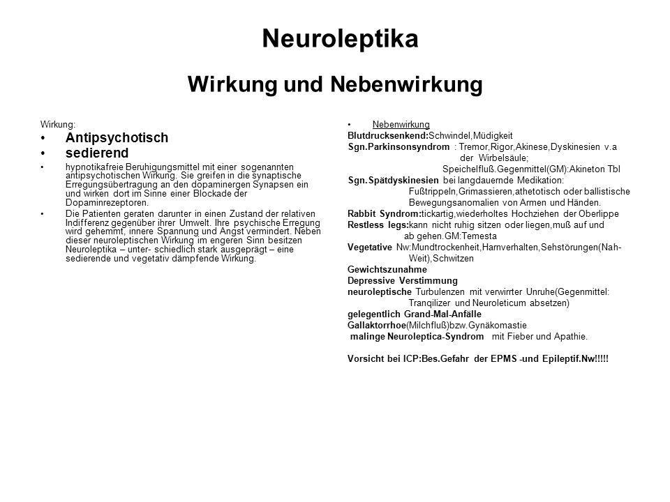Neuroleptika Wirkung und Nebenwirkung Wirkung: Antipsychotisch sedierend hypnotikafreie Beruhigungsmittel mit einer sogenannten antipsychotischen Wirkung.
