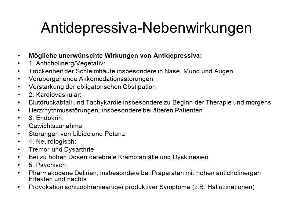 Antidepressiva-Nebenwirkungen Mögliche unerwünschte Wirkungen von Antidepressiva: 1.