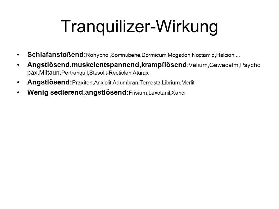 Tranquilizer-Wirkung Schlafanstoßend: Rohypnol,Somnubene,Dormicum,Mogadon,Noctamid,Halcion....