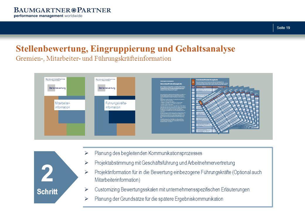 Seite 19 Stellenbewertung, Eingruppierung und Gehaltsanalyse Gremien-, Mitarbeiter- und Führungskräfteinformation 2 Schritt  Planung des begleitenden