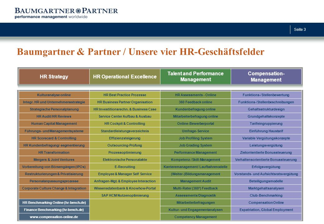 Seite 3 HR StrategyHR Operational Excellence Talent and Performance Management Compensation- Management Kulturanalyse onlineHR Best Practice ProzesseH