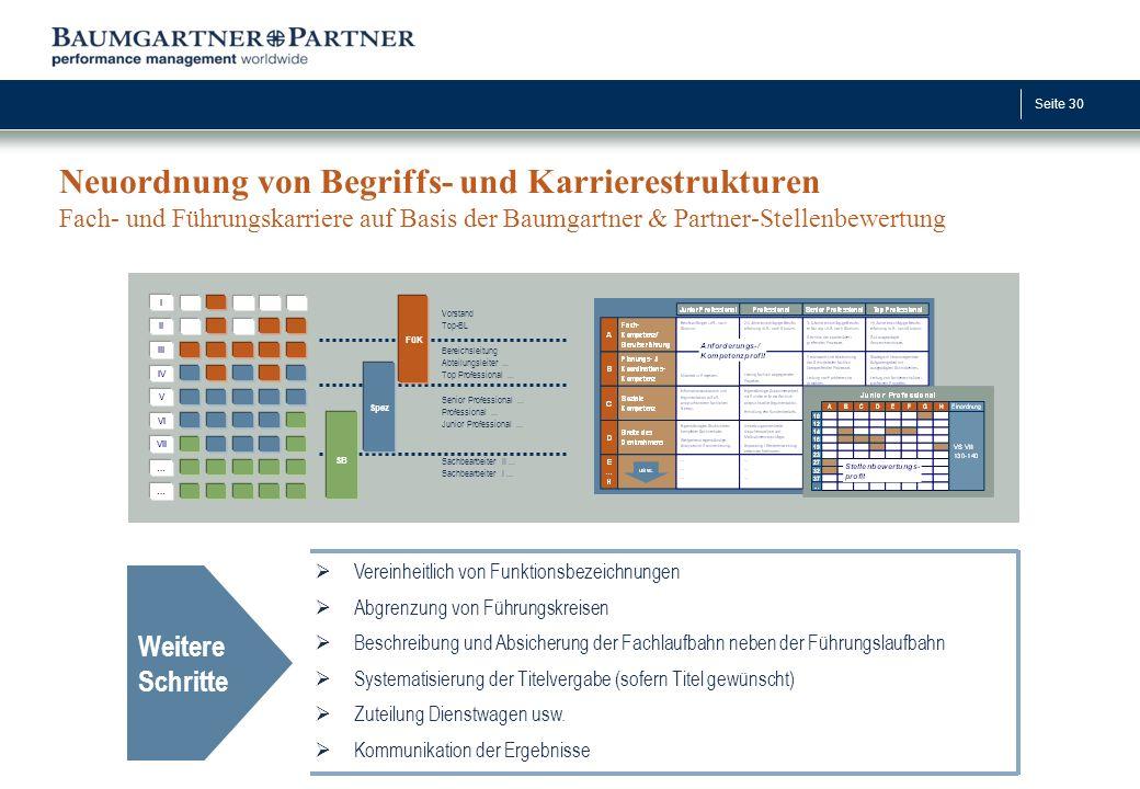 Seite 30 Neuordnung von Begriffs- und Karrierestrukturen Fach- und Führungskarriere auf Basis der Baumgartner & Partner-Stellenbewertung Weitere Schri