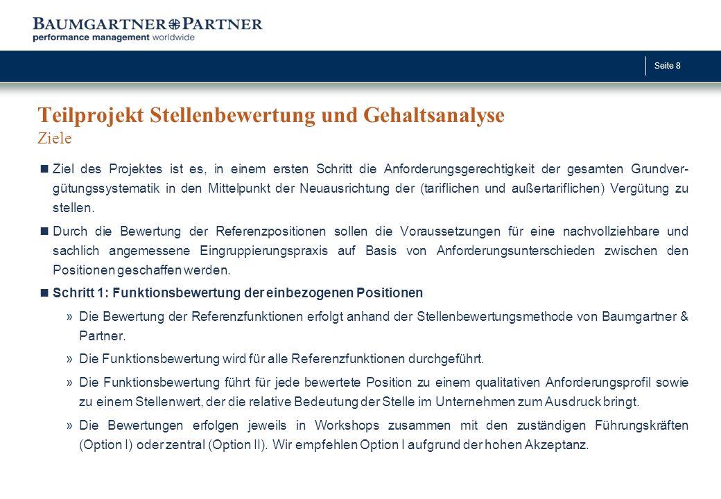 Seite 9 Teilprojekt Stellenbewertung und Gehaltsanalyse Bewertungsmethodik und erste Arbeitsschritte Die eingesetzte Baumgartner & Partner-Methodik ist...