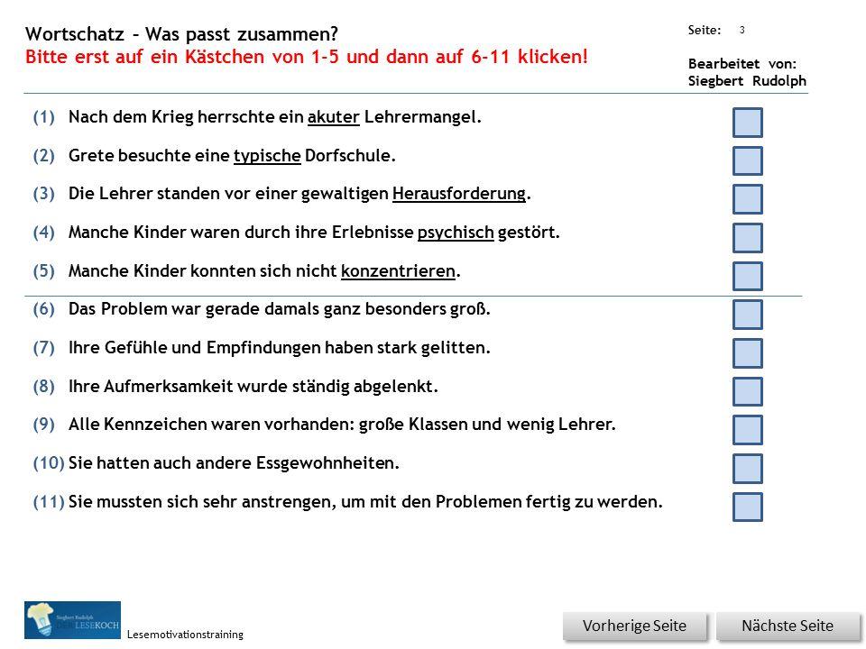 Übungsart: Seite: Bearbeitet von: Siegbert Rudolph Lesemotivationstraining 2 14 Lehrermangel – bitte klicken.