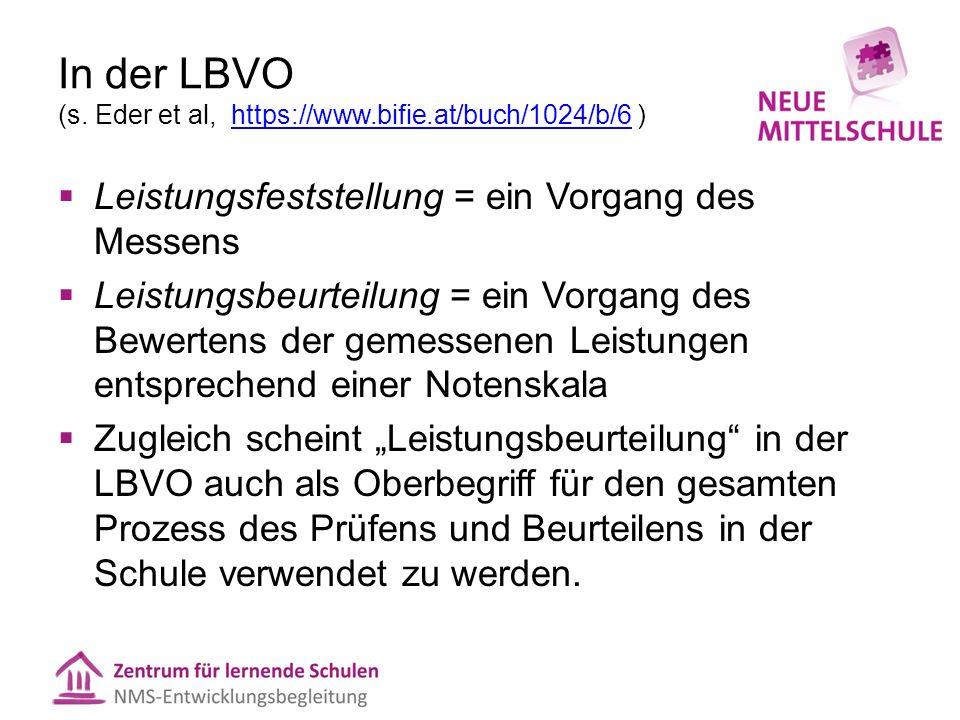 In der LBVO (s. Eder et al, https://www.bifie.at/buch/1024/b/6 )https://www.bifie.at/buch/1024/b/6  Leistungsfeststellung = ein Vorgang des Messens 