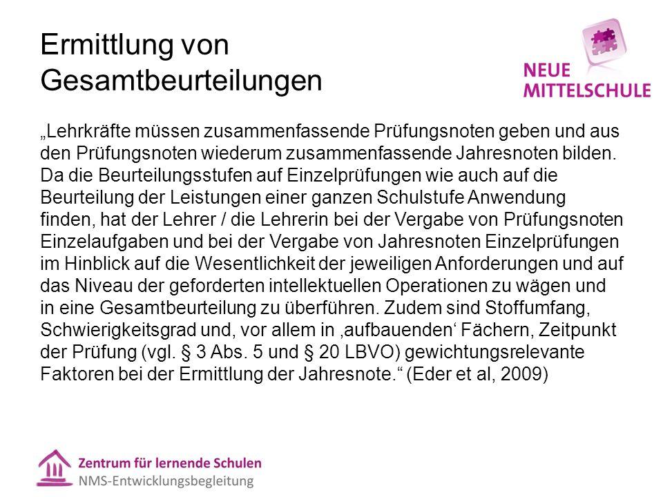 """Ermittlung von Gesamtbeurteilungen  """"Praxisgängige Verfahren, v."""