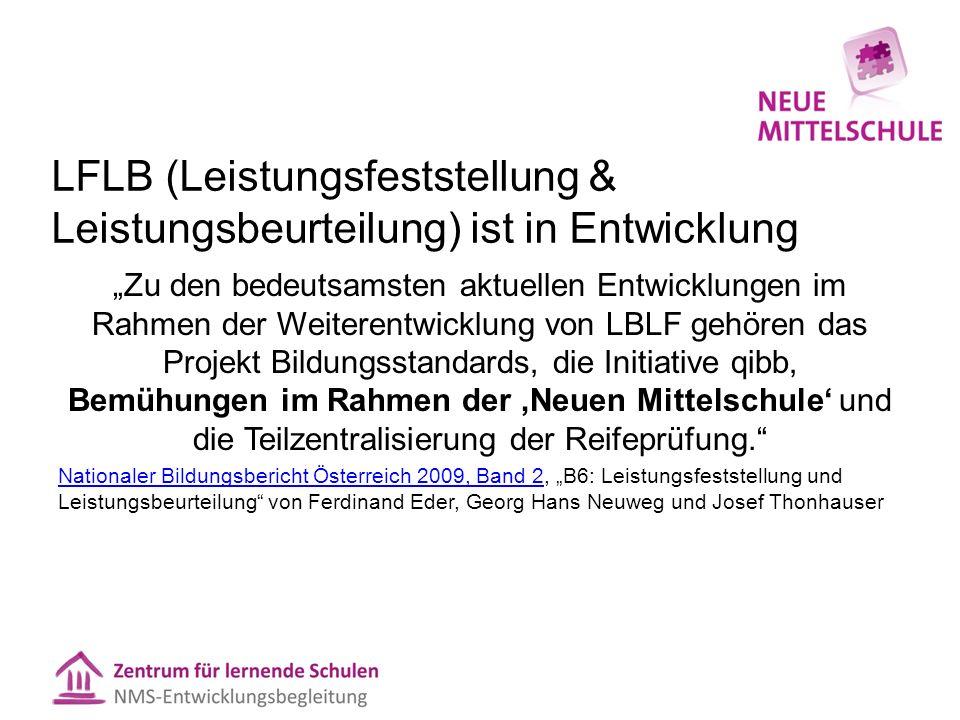 """LFLB (Leistungsfeststellung & Leistungsbeurteilung) ist in Entwicklung """"Zu den bedeutsamsten aktuellen Entwicklungen im Rahmen der Weiterentwicklung v"""