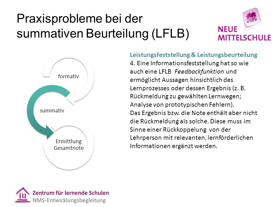 Praxisprobleme bei der summativen Beurteilung (LFLB) formativ summativ Ermittlung Gesamtnote Leistungsfeststellung & Leistungsbeurteilung 4. Eine Info