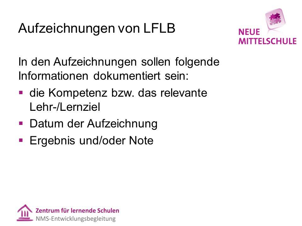 Aufzeichnungen von LFLB In den Aufzeichnungen sollen folgende Informationen dokumentiert sein:  die Kompetenz bzw. das relevante Lehr-/Lernziel  Dat