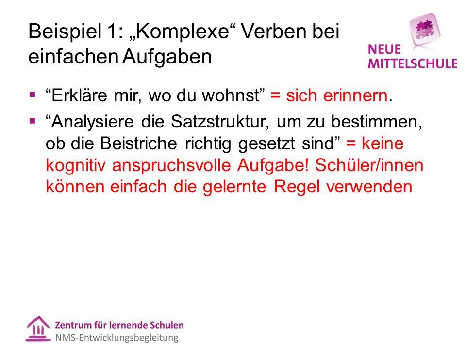 Beispiel 2: Gleiches Verb, 3 Bereiche  1- Beschreibe drei Merkmale von Demokratie (einfache Wiedergabe)  2- Beschreibe den Unterschied zwischen Demokratie und Monarchie.