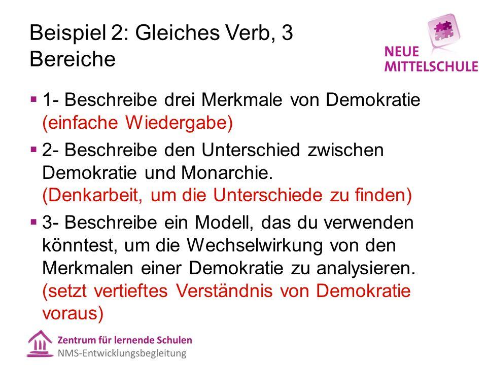 Beispiel 2: Gleiches Verb, 3 Bereiche  1- Beschreibe drei Merkmale von Demokratie (einfache Wiedergabe)  2- Beschreibe den Unterschied zwischen Demo