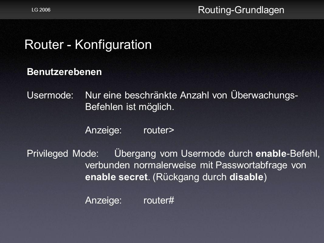Router - Konfiguration Routing-Grundlagen LG 2006 Benutzerebenen Usermode:Nur eine beschränkte Anzahl von Überwachungs- Befehlen ist möglich.