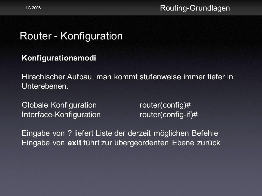 Router - Konfiguration Routing-Grundlagen LG 2006 Konfigurationsmodi Hirachischer Aufbau, man kommt stufenweise immer tiefer in Unterebenen.