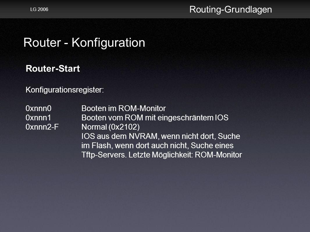 Router - Konfiguration Routing-Grundlagen LG 2006 Router-Start Konfigurationsregister: 0xnnn0Booten im ROM-Monitor 0xnnn1Booten vom ROM mit eingeschräntem IOS 0xnnn2-FNormal (0x2102) IOS aus dem NVRAM, wenn nicht dort, Suche im Flash, wenn dort auch nicht, Suche eines Tftp-Servers.