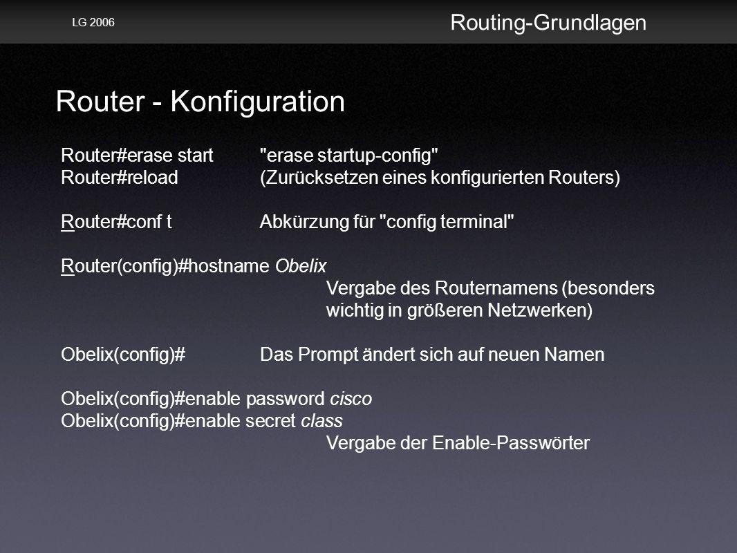 Router - Konfiguration Routing-Grundlagen LG 2006 Router#erase start erase startup-config Router#reload(Zurücksetzen eines konfigurierten Routers) Router#conf tAbkürzung für config terminal Router(config)#hostname Obelix Vergabe des Routernamens (besonders wichtig in größeren Netzwerken) Obelix(config)#Das Prompt ändert sich auf neuen Namen Obelix(config)#enable password cisco Obelix(config)#enable secret class Vergabe der Enable-Passwörter