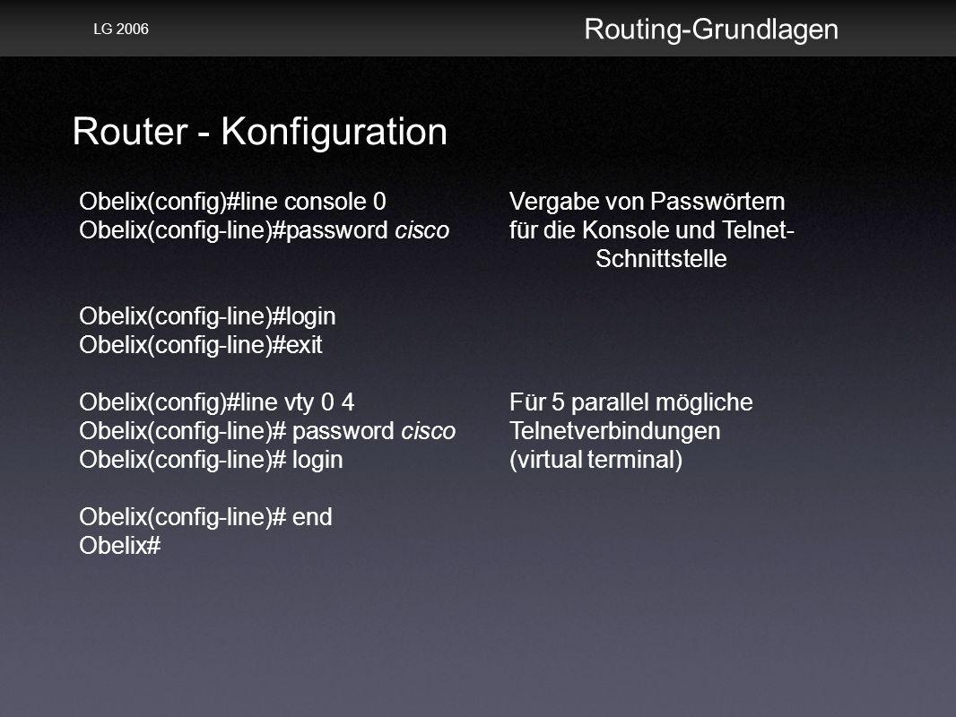 Router - Konfiguration Routing-Grundlagen LG 2006 Obelix(config)#line console 0Vergabe von Passwörtern Obelix(config-line)#password ciscofür die Konsole und Telnet- Schnittstelle Obelix(config-line)#login Obelix(config-line)#exit Obelix(config)#line vty 0 4Für 5 parallel mögliche Obelix(config-line)# password ciscoTelnetverbindungen Obelix(config-line)# login(virtual terminal) Obelix(config-line)# end Obelix#