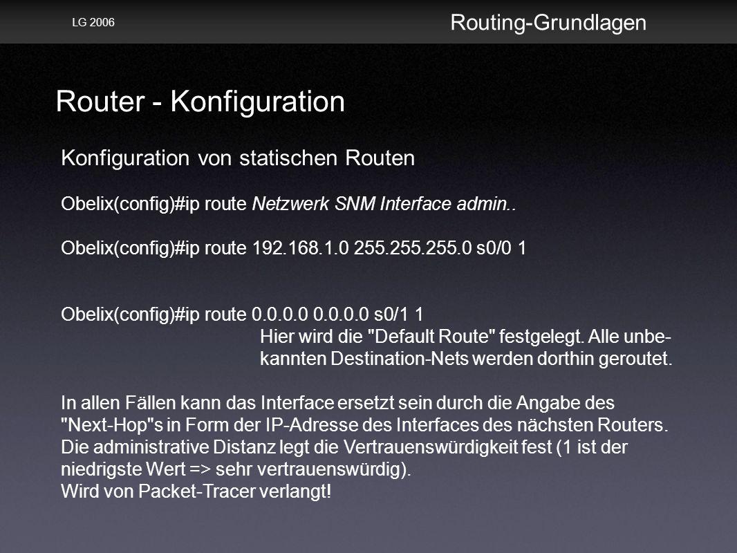 Router - Konfiguration Routing-Grundlagen LG 2006 Konfiguration von statischen Routen Obelix(config)#ip route Netzwerk SNM Interface admin..