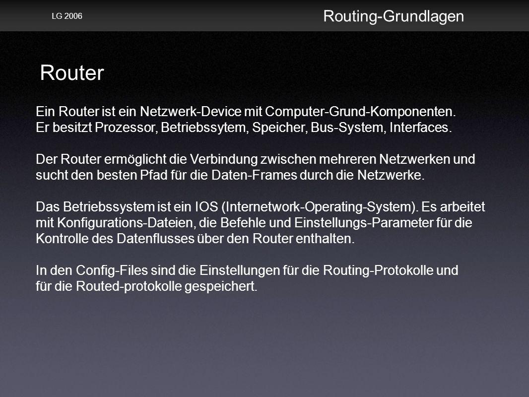Router Routing-Grundlagen LG 2006 Ein Router ist ein Netzwerk-Device mit Computer-Grund-Komponenten.