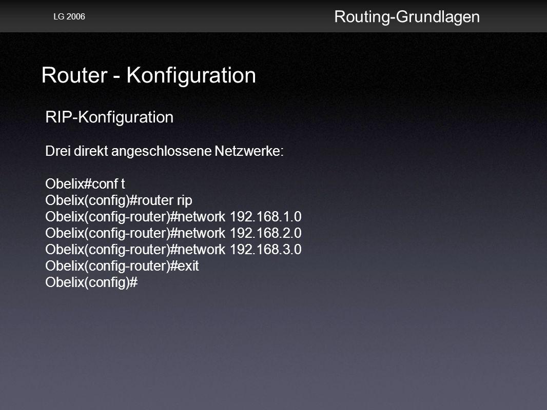 Router - Konfiguration Routing-Grundlagen LG 2006 RIP-Konfiguration Drei direkt angeschlossene Netzwerke: Obelix#conf t Obelix(config)#router rip Obelix(config-router)#network 192.168.1.0 Obelix(config-router)#network 192.168.2.0 Obelix(config-router)#network 192.168.3.0 Obelix(config-router)#exit Obelix(config)#
