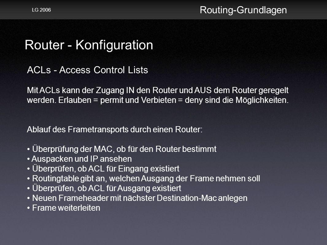 Router - Konfiguration Routing-Grundlagen LG 2006 ACLs - Access Control Lists Mit ACLs kann der Zugang IN den Router und AUS dem Router geregelt werden.