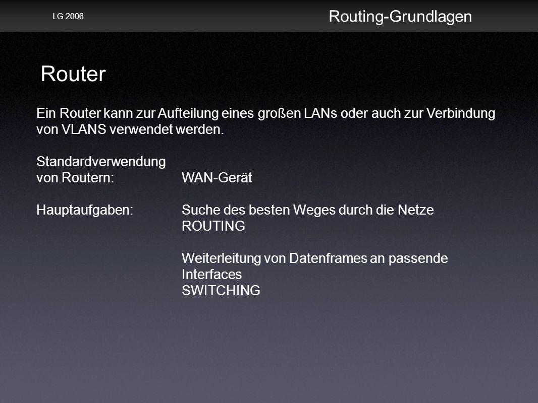 Router Routing-Grundlagen LG 2006 Ein Router kann zur Aufteilung eines großen LANs oder auch zur Verbindung von VLANS verwendet werden.