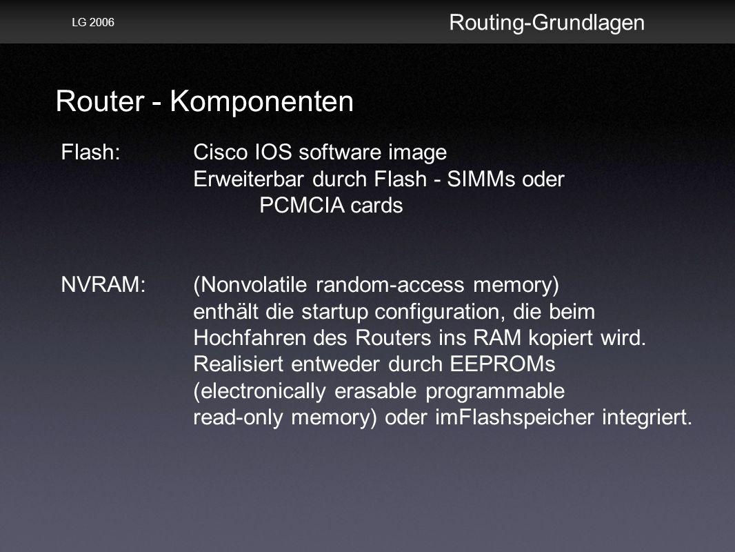 Router - Komponenten Routing-Grundlagen LG 2006 Flash: Cisco IOS software image Erweiterbar durch Flash - SIMMs oder PCMCIA cards NVRAM: (Nonvolatile random-access memory) enthält die startup configuration, die beim Hochfahren des Routers ins RAM kopiert wird.