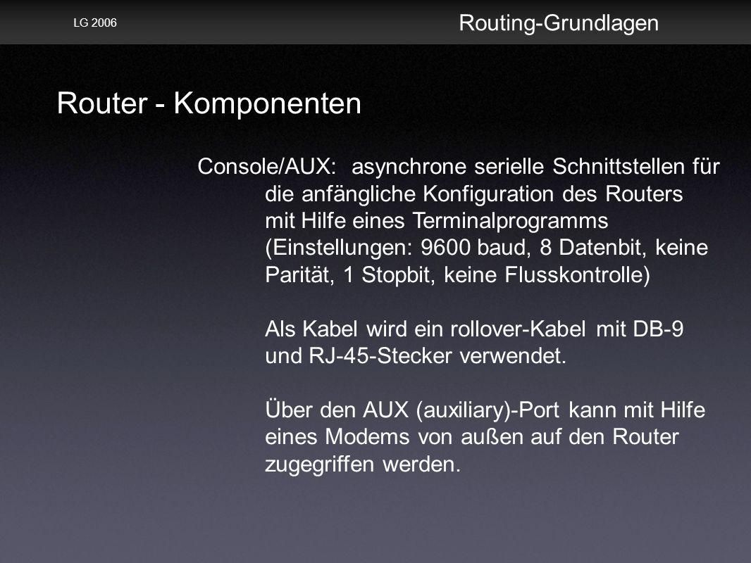 Router - Komponenten Routing-Grundlagen LG 2006 Console/AUX: asynchrone serielle Schnittstellen für die anfängliche Konfiguration des Routers mit Hilfe eines Terminalprogramms (Einstellungen: 9600 baud, 8 Datenbit, keine Parität, 1 Stopbit, keine Flusskontrolle) Als Kabel wird ein rollover-Kabel mit DB-9 und RJ-45-Stecker verwendet.