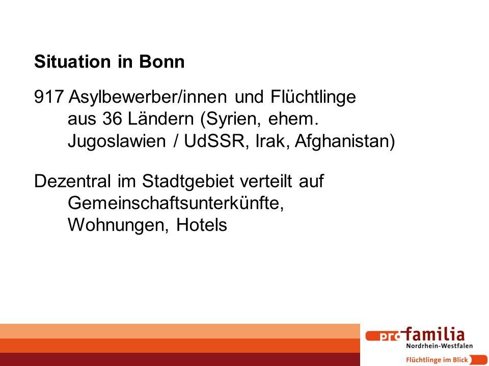 Situation in Bonn 917 Asylbewerber/innen und Flüchtlinge aus 36 Ländern (Syrien, ehem. Jugoslawien / UdSSR, Irak, Afghanistan) Dezentral im Stadtgebie