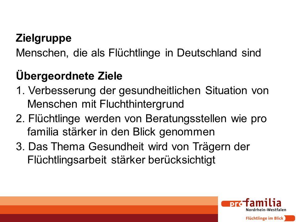 Zielgruppe Menschen, die als Flüchtlinge in Deutschland sind Übergeordnete Ziele 1. Verbesserung der gesundheitlichen Situation von Menschen mit Fluch