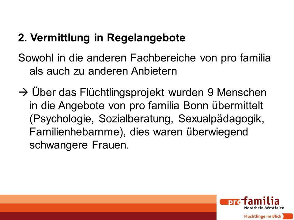 2. Vermittlung in Regelangebote Sowohl in die anderen Fachbereiche von pro familia als auch zu anderen Anbietern  Über das Flüchtlingsprojekt wurden