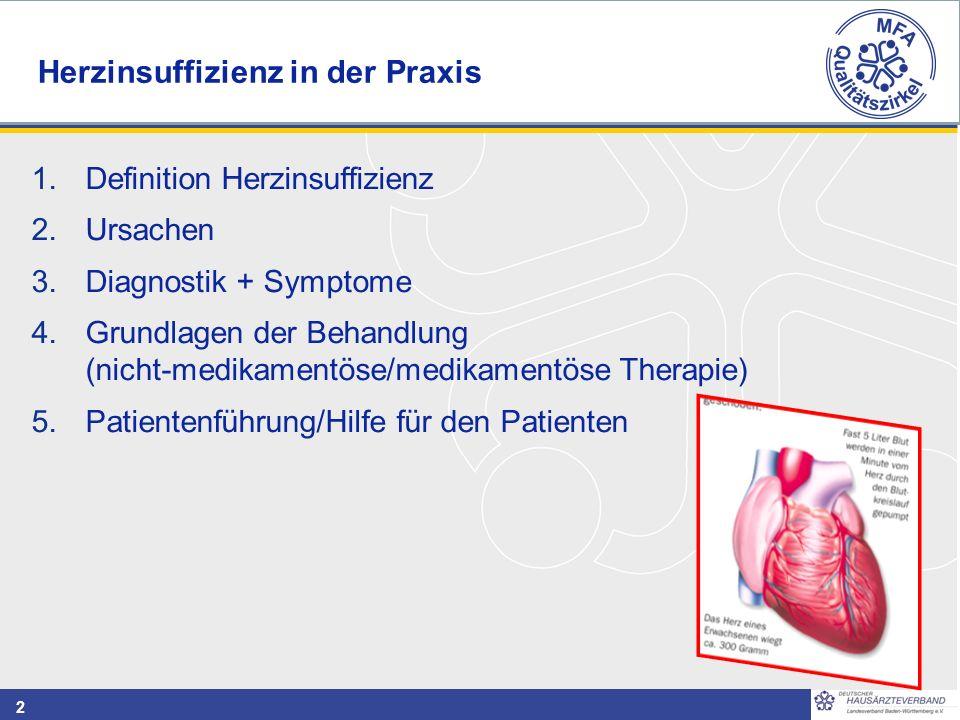 2 1.Definition Herzinsuffizienz 2.Ursachen 3.Diagnostik + Symptome 4.Grundlagen der Behandlung (nicht-medikamentöse/medikamentöse Therapie) 5.Patientenführung/Hilfe für den Patienten Herzinsuffizienz in der Praxis