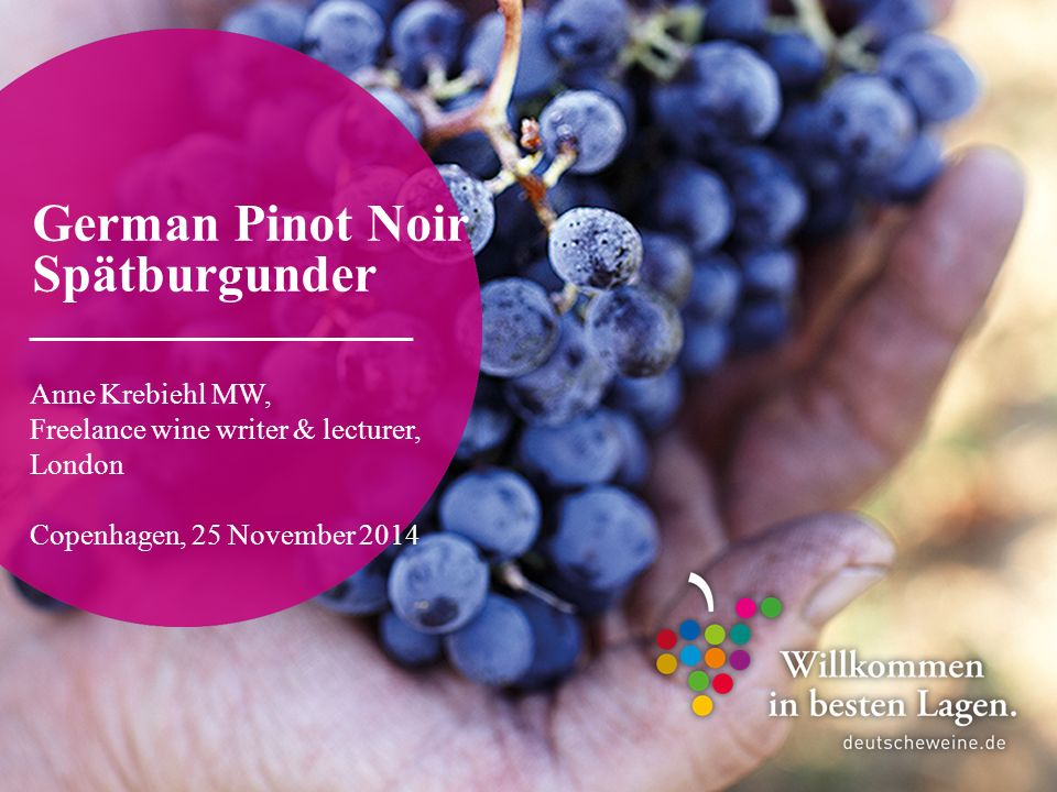 Veranstaltung, TT/MM/Jahr, © DWI / Vorname, Name German Pinot Noir – Anne Krebiehl MW Copenhagen 12 Plantings As of 2006, Germany has become the world's third-largest grower of Pinot Noir after France and the US, respectively.