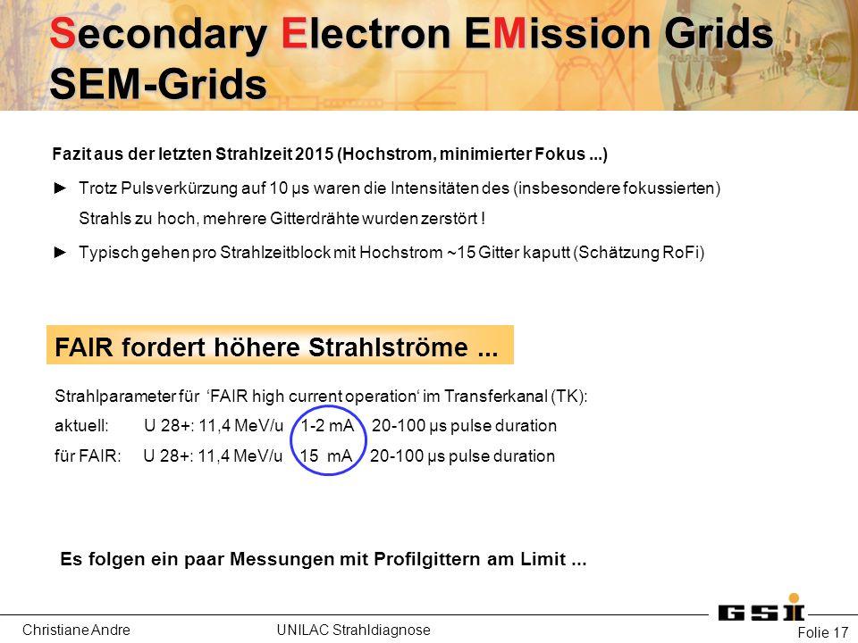 Christiane Andre UNILAC Strahldiagnose Secondary Electron EMission Grids SEM-Grids Folie 17 FAIR fordert höhere Strahlströme...