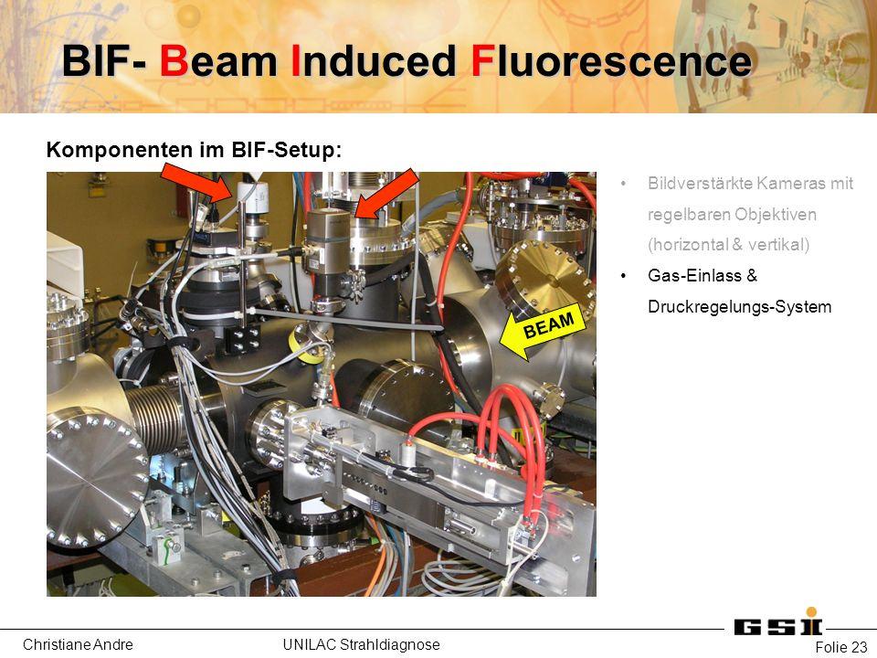 Christiane Andre UNILAC Strahldiagnose Folie 23 Komponenten im BIF-Setup: Bildverstärkte Kameras mit regelbaren Objektiven (horizontal & vertikal) Gas-Einlass & Druckregelungs-System BEAM BIF- Beam Induced Fluorescence