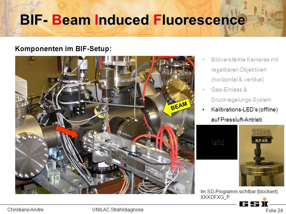 Christiane Andre UNILAC Strahldiagnose Folie 24 Komponenten im BIF-Setup: Bildverstärkte Kameras mit regelbaren Objektiven (horizontal & vertikal) Gas-Einlass & Druckregelungs-System Kalibrations-LED's (offline) auf Pressluft-Antrieb BEAM BIF- Beam Induced Fluorescence Im SD-Programm sichtbar (blockiert): XXXDFXG_P