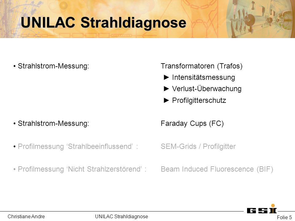 Christiane Andre UNILAC Strahldiagnose Folie 36 BIF- Beam Induced Fluorescence Funktioniert BIF nur bei Hochstrom.